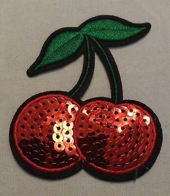 Funky retro Cherry Badge Iron on Fabric Embroidered Applique sequin Patches
