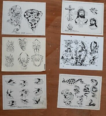 6 X 1970's 1980's Spaulding & Rogers Tattoo Flash Art Various Sizes Sailor Jerry