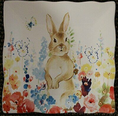 222 Fifth Flowerfield SET/2 Front Facing Bunny Rabbit Square Salad Plate Easter
