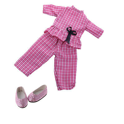 2pcs Plaid Top Pants Sequin Shoes Clothes Suit for American Girl 14inch Doll