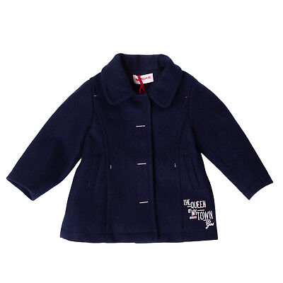 GAS Coat Size 9M Wool Blend Embroidered Logo Popper Front Collared
