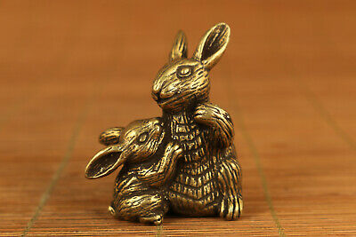 chinese old copper hand carved rabbit statue netsuke collectable ornament