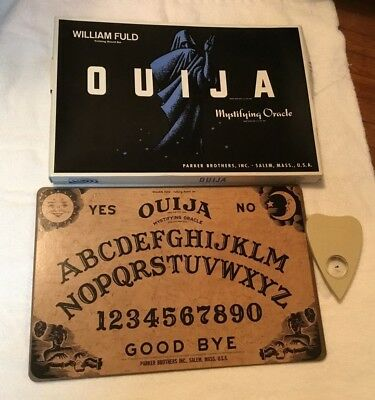 Complete in Box 1960's William Fuld Parker Brothers Wooden Ouija Board very nice