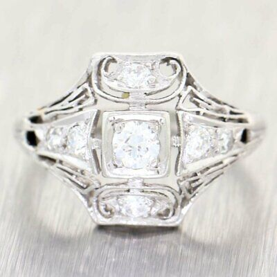 1920s Antique Art Deco Platinum .40ctw Round Cut Diamond Cocktail Ring A9