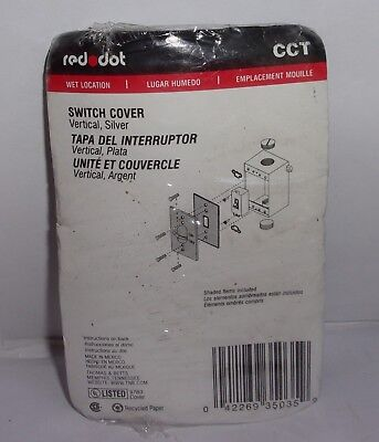 Red Dot Cct On Off  Switch Cover Vertical Silver Wet Location