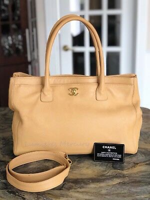 aebef7956ea6 100% AUTH CHANEL Leather Executive Cerf Tote Bag Xl  3800 ...
