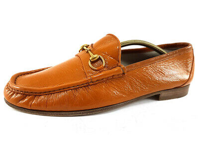 9ffe706461d GUCCI 1953 HORSE-BIT Brown Patent Leather Loafer