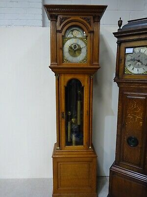 Huge Late Victorian Antique Grandfather Clock On Tubes Brass Moon Roller Face