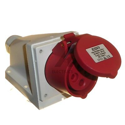 16 Amp 4 Pin Surface Mount Socket IP44 3P+E 380 - 415V Red 3 phase Industrial