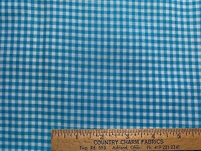 Vintage Cotton Fabric NICE Turquoise Blue & White Woven Check Gingham 35w 1yd
