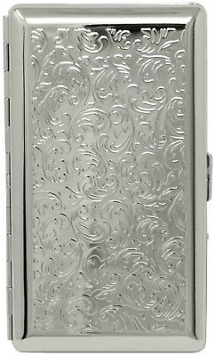 Silver Victorian (Half Pack – 10 120s) Metal-Plated Cigarette Case With Mirror