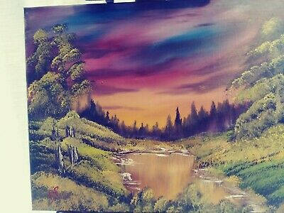 Oil Painting done in the Bob Ross wet on wet Style. 16x20