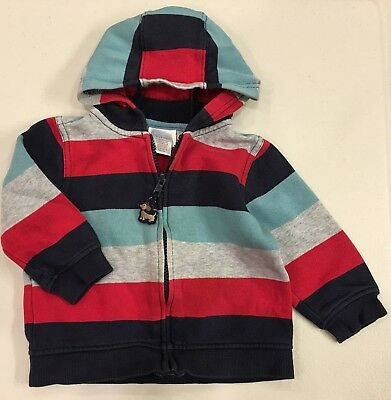 Gymboree~Fleece Lined Full Zip Hoodie Sweater~Boys Girls 18-24M~Cotton~Striped