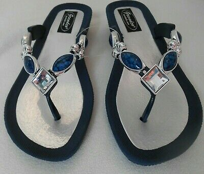 6b259ebda5def GRANDCO SANDALS Beach Pool THONG BLING Dressy BLUE DENIM COLOR GEMSTONES  Jeweled