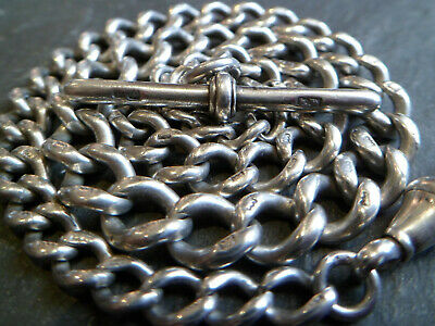 Antique Victorian 1887 Solid Silver Graduated Chunky Albert Pocket Watch Chain