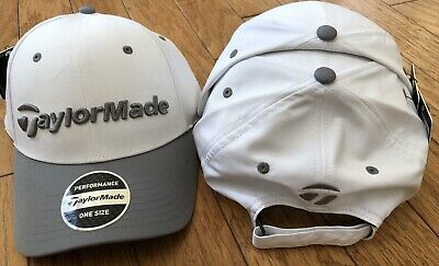 NWT TaylorMade Performance Seeker Golf Hat Cap Adjustable Strap White with  Black f7be6ec0d2c0
