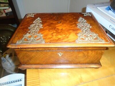 Very Pretty Antique (Victorian) Burr-Walnut Sewing Box- Fully Fitted Interior