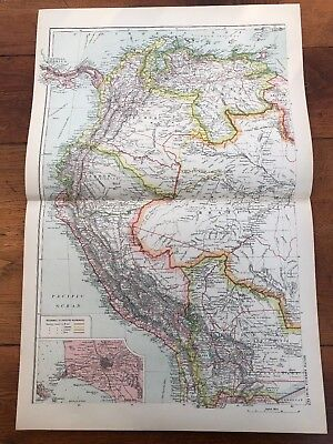 1900s double page map from g.w. bacon - south america ! north west
