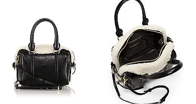 20e9262ff216 Burberry Mini Bee Leather   Shearling Bowler Bag Black   White NWT  2995