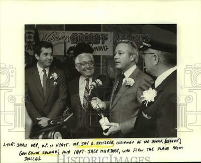 1984 Press Photo City leaders welcome Brandi airlines at ceremony in Louisiana