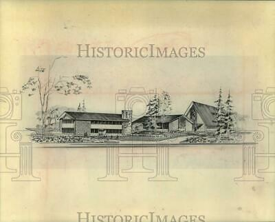 1965 Press Photo Architectural drawing of proposed church in Loudonville, NY