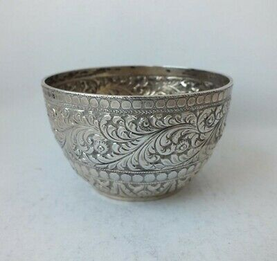 Pretty Antique Victorian Embossed Solid Sterling Silver Bowl 1886/ Dia 7.9 cm