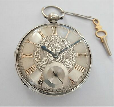 1872 Silver Cased Jewelled Fusee Pocket Watch In Working Order