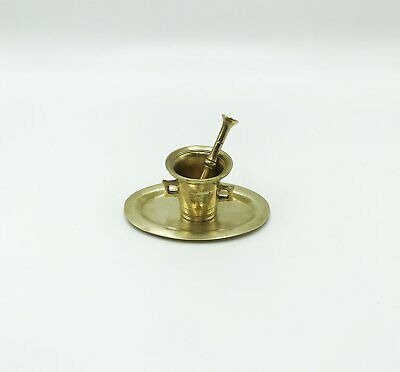 Antique Solid Brass Apothecary Mortar, Pestle and Tray