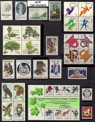 RJames: US 1978 Commemorative Year Set (36 stamps), MNH, F-VF