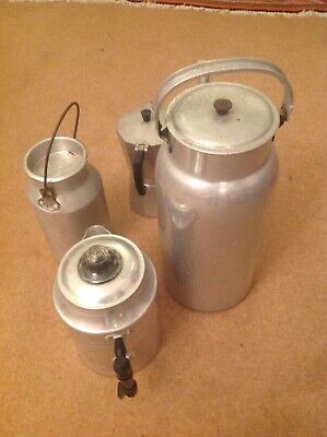 Assortment Of Aluminium Kitchenalia, Tea Pot, Coffee Pot, Milk Urn, Kettle