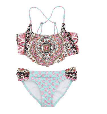 Billabong Girls Moon Tribe Cold Shoulder Two Piece Swimsuit Sz 10 8124