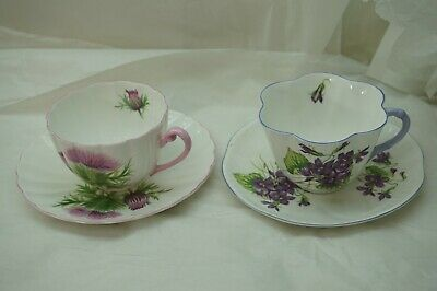 Shelley China Cup And Saucer Set Of 2 Thistle 13820 Violets 13821 Porcelain
