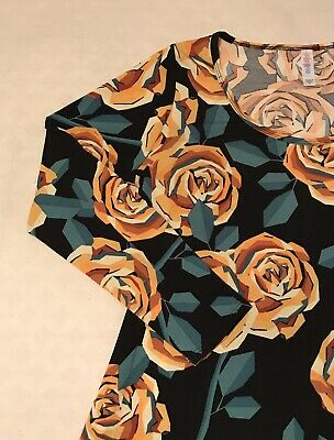 df3eb4bf7b4e45 LuLaRoe XL Extra Large Lynnae Yellow Gold Rose Black Background Floral NWT