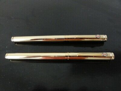2 Sheaffer Gold Fountain Pens badged with Esso on the clip