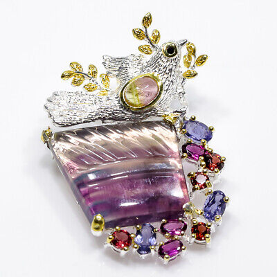 Recommend item 26ct+ Natural Fluorite 925 Sterling Silver Brooch/NB00453