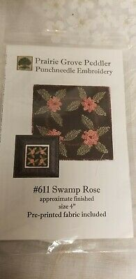 Prairie Grove Peddler  Swamp Rose  Punchneedle embroidery pattern on fabric