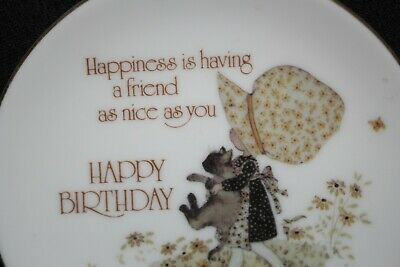vintage HOLLY HOBBIE porcelain HAPPY BIRTHDAY FRIEND wall hanging plate 1978