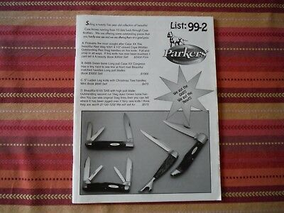 Parkers' Knife Collector Service List 99-2- 64 glossy pages Case Bulldog etc