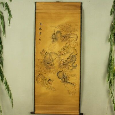 Rare antique chinese museum Kraft paper painting scroll by nine dragon chart