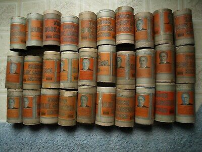30 early 1900's Edison empty blue amberol record cylinders, no tops