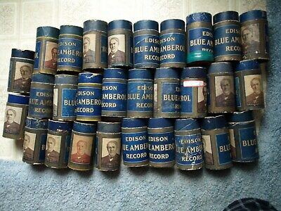29 early 1900's Edison empty blue amberol record cylinders, no tops