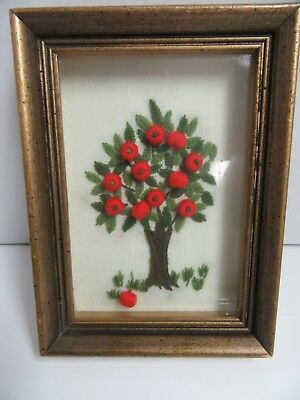 Finished Crewel Embroidery Apple Tree Completed 5.5x7.5 Framed Fruit Tree