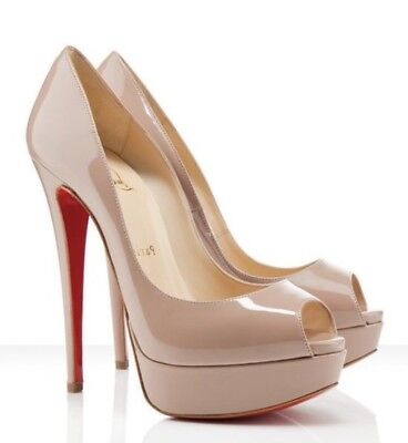 Christian Louboutin Lady Peep 150 Nude Patent 38 5 945 Worn Once