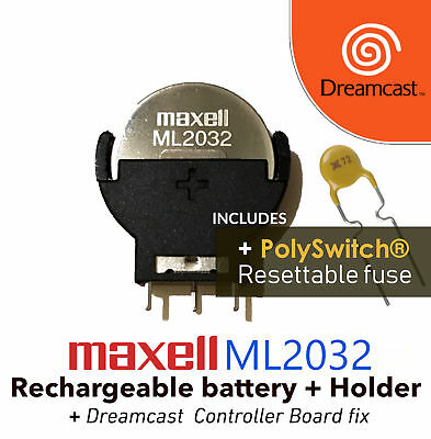 Maxell ML2032 & Battery Holder + Resettable Fuse Dreamcast Controller Port Fix