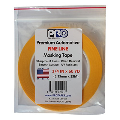 """PRO Tapes Premium Automotive FINE LINE Masking Tape 1/4 IN x 60 YDS on 3"""" Core;"""