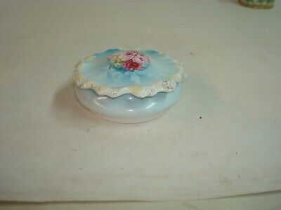 """RS Prussia Antique Porcelain Hand Painted Covered Dish, 4"""" diameter 2"""" tall"""