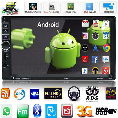 """7"""" 2DIN Quad Core BT WIFI Android 7.1 Car Stereo MP5 Player GPS RDS FM AM Radio"""