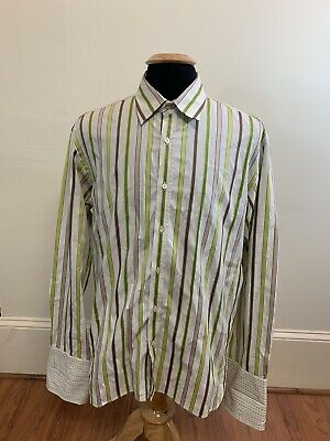 691b6cdce0958 Ted Baker London Men s Striped Dress Button Down Shirt Size 6 French Cuff