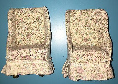 Dollhouse Miniature 2 Floral Living Room Chairs Set 1:12 Furniture