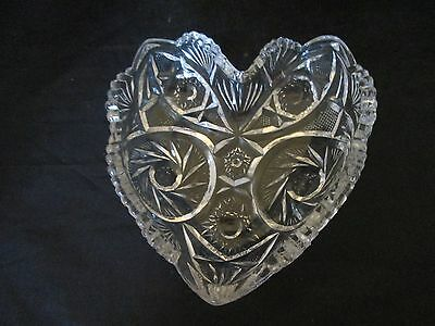 Clear Glass Press Cut Heart Shaped Candy Dish